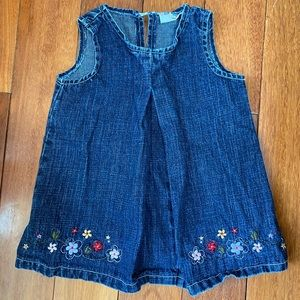 Please Mum denim dress with embroidered flowers